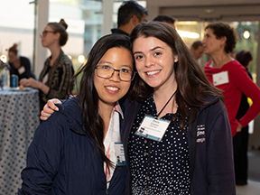 Discovery Fellows Inez Raharjo and Olivia Creasey pose for a photo at fall reception